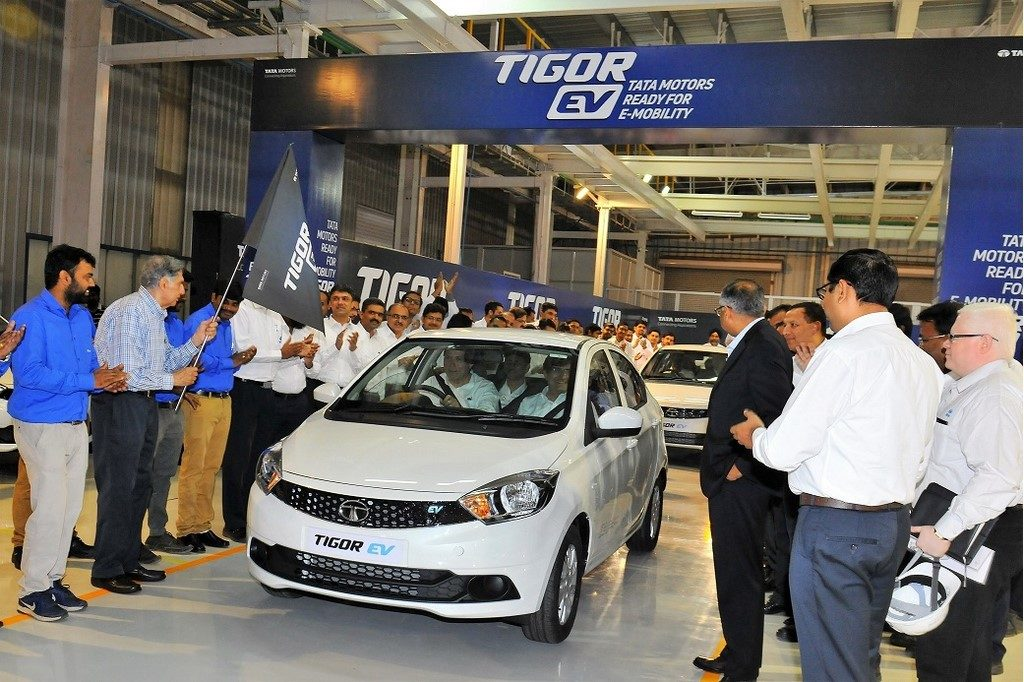 Tata Motors flags off Tigor Electric Vehicle from Sanand plant
