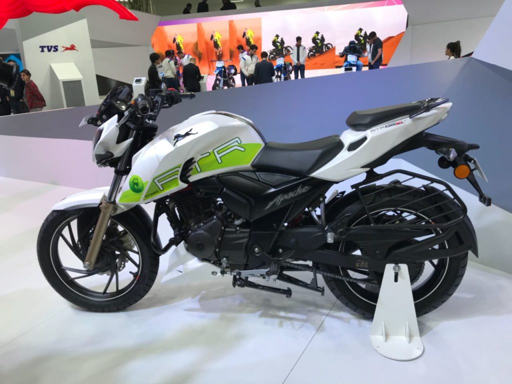 Auto Expo '18 : TVS goes Green, unveils the Ethanol powered Apache RTR 200 FI