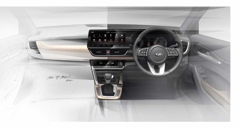 Kia release first official interior sketch of their upcoming Mid sized SUV