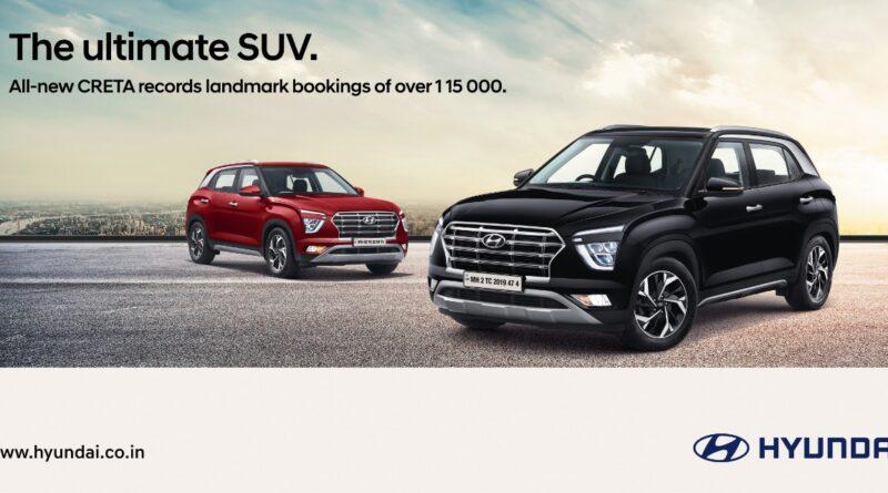 Hyundai Creta dominates the segment selling 1.15Lakh bookings